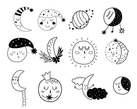 Baby moon clipart. Kids moon set Cute characters. Sleepy moon elements. Sleeping moon face. Doodle illustration.