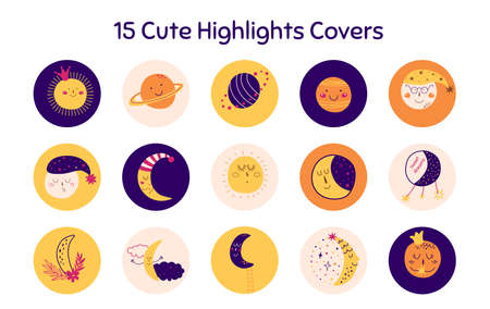 Highlights story icons set for social media in childish style. Cute faces, moon, sun, planets icons. Kids, baby social net design. Hand drawn sleeping moon character. Dreaming vector illustration. Vettoriali