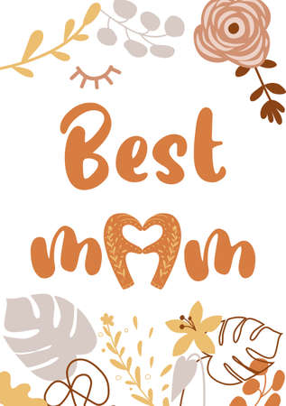 Mothers day card. Best mom. Boho mothers day banner. Heart shape. Floral bohemian illustration