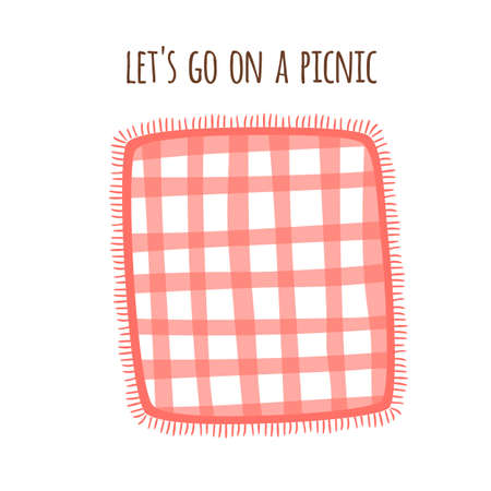 Picnic blanket park isolated Red Gingham tablecloth Outdoors summer picnic background. Checkered plaid Archivio Fotografico