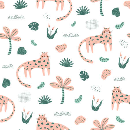 Cute panther. Wild cat pattern Pink panther jungle cat textile design. Hand drawn safari cheetah