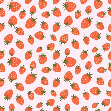 Strawberry seamless pattern. Cute summer berries simple hand drawn illustration Strawberry wrapping paper. Vettoriali