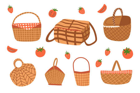 Picnic baskets vector set isolated graphic elements. Picnic baskets doodle icon collection. Outdoor picnic.