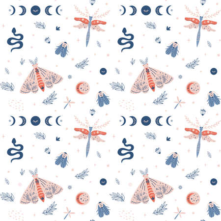 Moth pattern, butterfly summer seamless pattern, moon moth, modern insects texture, wings background