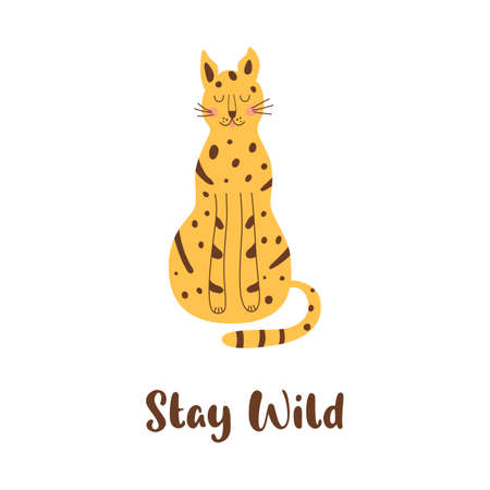 Sitting cheetah isolated animal. Sitting wild cat. Stay wild naive art graphic element. Cute leopard. Archivio Fotografico