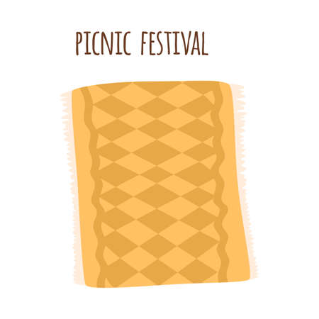 Picnic blanket park isolated Yellow gingham tablecloth Outdoors summer picnic background. Checkered plaid
