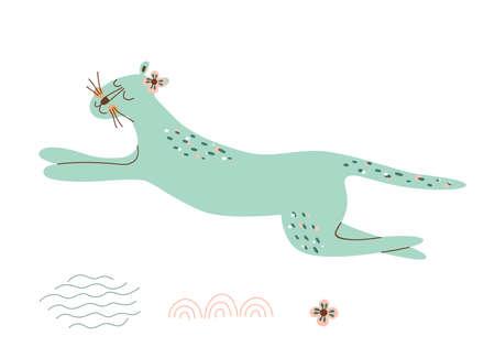 Leopard cat. Cute wild animal illustration. Jungle jaguar. Blue running leopard design. Tropical exotic animal isolated element. Vector animal design, jaguar for printing on fabric, clothing.