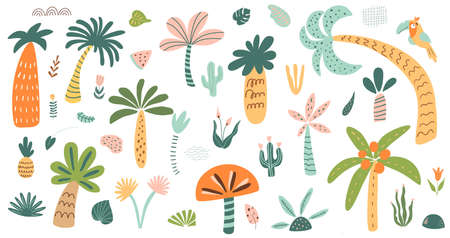 Cute palm tree isolated set. Stylized palm tree collection. Childish safari tree Forest elements. Jungle tropical trees. Vettoriali