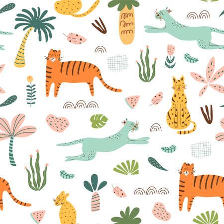 Safari kids pattern. Funny jungle seamless pattern. Palm trees, safari leopard, tiger, cactus doodle textie background.