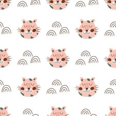 Leopard face. Pink leopard head seamless pattern. Cute baby animal fabric, textile, wild cat simple texture Vettoriali