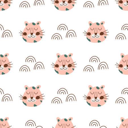 Leopard face. Pink leopard head seamless pattern. Cute baby animal fabric, textile, wild cat simple texture Archivio Fotografico