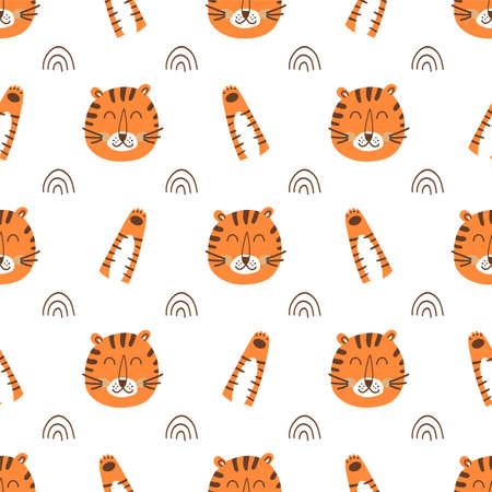 Tiger face pattern. Tiger head pattern. Cartoon cute tiger, wild cat paw background. Wild fabric design
