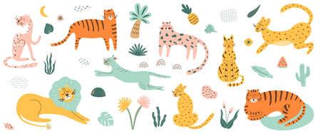 Wild cat set. Safri animals collection. Tiger, lion, leopard, jaguar African feline animals tropical palm