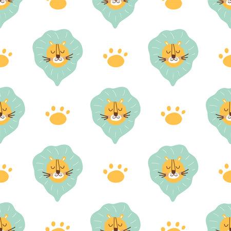 Lion pattern. Cute lion head seamless pattern. Paw, wild cat face simple background, safari animal fabric