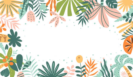 Tropical horizontal banner. Tropic leaf summer panorama. Exotic leaves banner Botanical graphic design for cosmetics, spa, perfume, health care products, wedding invitation. Cute palm illustration. Banque d'images