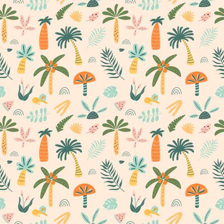 Cute palm tree pattern. Cartoon jungle pattern. Rainforest tree background. Doodle palm trees