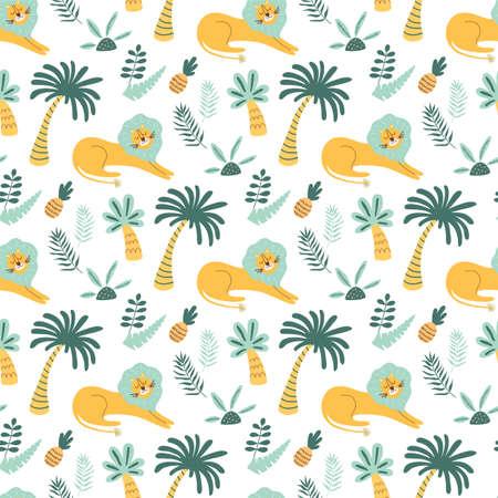 African childish pattern. Lion wild animal, jungle palm tree, cute tropical palms background. Cartoon lion Illustration