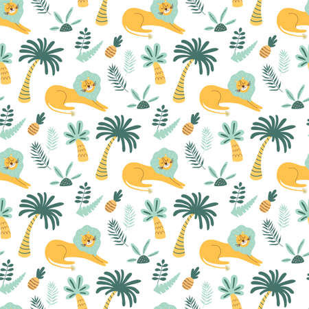 African childish pattern. Lion wild animal, jungle palm tree, cute tropical palms background. Cartoon lion Banque d'images