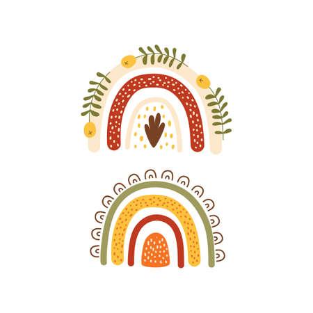 Autumn rainbow. Floral rainbows set in autumn orange, green, yellow colors. Cute fall hand drawn illustration