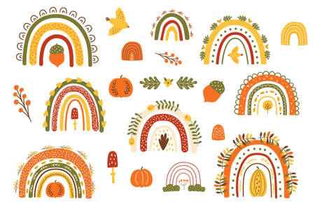 Fall rainbow set. Autumn rainbows collection. Floral rainbows. Thanksgiving day elements isolated kit. Thanksgiving pumpkin, fall cute arches. Hand drawn fall symbols. Cozy illustration. Halloween. Banque d'images