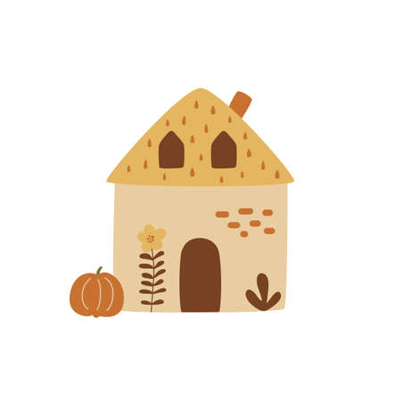 Fall cottage countryside house with pumpkin hand drawing Rural village element. Autumn landscape house