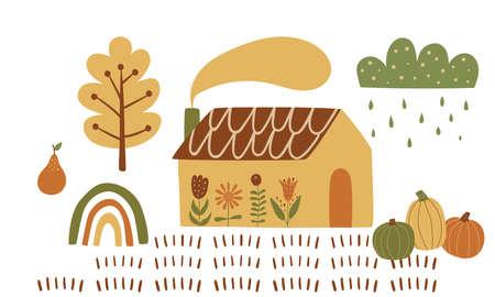 Fall cottage, pumpkin. Rural countryside house, autumn harvest, garden, field. Fall village landscape element