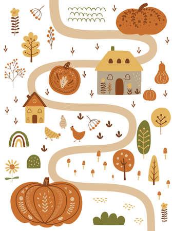 Autumn pumpkin harvest festival in village. Cute map with pumpkins, houses, farm cottage, chicken, tree. Fall invitation. Childish autumn illustration. Garden, farm, agriculture. Nature scene poster.
