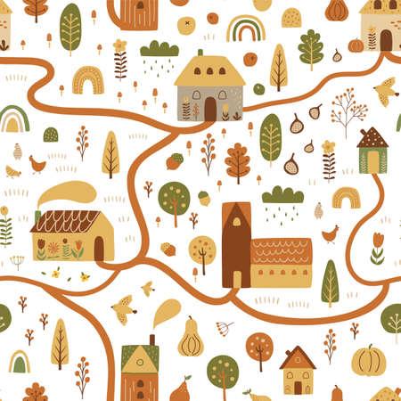 Cartoon village map. Cute map nature vector illustration. Cottage houses, forest, farm landscape. Cozy autumn town scene. Childish hand draw kids room poster. Pumpkin harvest garden nature landscape.