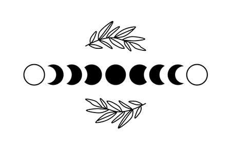 Floral moon phase. Black moon phase. Boho luna symbol. Shape moon cycle. Full moon, crescent isolated. Celestial graphic element. Astronomy, astrology. Bohemian botanical ornate. Vector illustration.