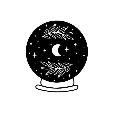 Moon into crystal ball. Celestial moon, stars, floral branch. Mystical moon witch graphic element isolated. Celestial crescent vector illustration. Mystery, witchcraft, halloween symbol. Magic ball. Illustration