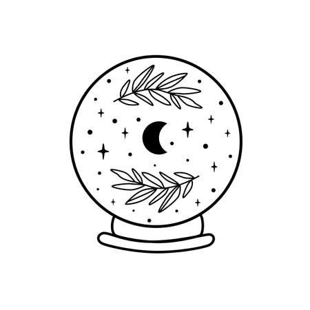 Moon crystal ball. Celestial moon, stars, floral branch. Mystical moon witch graphic element isolated. Celestial crescent vector illustration. Mystery, witchcraft, halloween symbol. Magic ball.