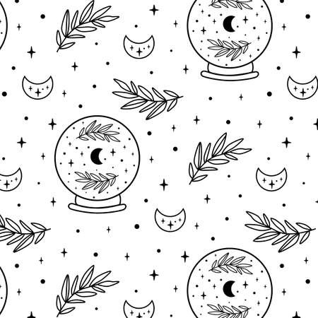 Crystal ball pattern. Celestial moon, floral branch, stars seamless pattern. Black and white coloring page. Hand drawn vector illustration. Witchcraft background Gothic mystic future telling Halloween Illustration