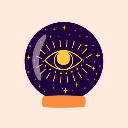 Magic crystal ball future with eye. Fortune teller crystal ball. Witchcraft magic symbol. Halloween graphic element. Alchemy vector illustration isolated crystal ball. Illustration