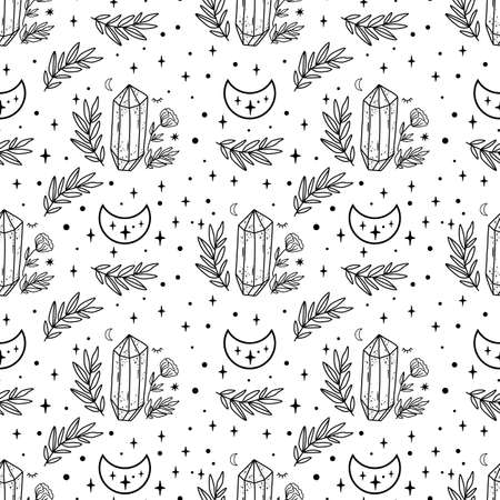 Moon crystal pattern. Celestial moon, floral branch, stars, crystals seamless pattern. Black and white coloring page. Hand drawn vector illustration. Witchcraft background Mystery spiritual crystals.