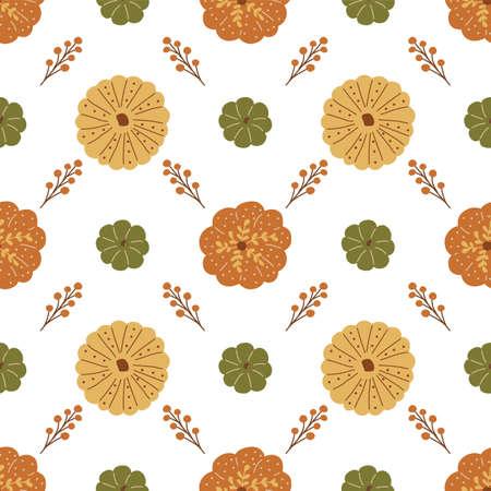 Pumpkin pattern top view. Cute decorative thanksgiving pumpkins, autumn harvest background, autumn berry. Fall seamless pattern. Cartoon hand drawn vector illustration. Pumpkin patch.