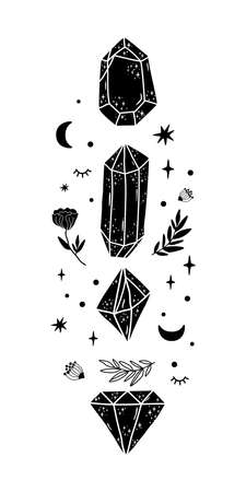Crystal, moon, geometric occult graphic element. Black mystical crystals, flowers, moon. Celestial gems graphic element. Hand drawn alchemis astrology symbol Mystical magical vector illustration.