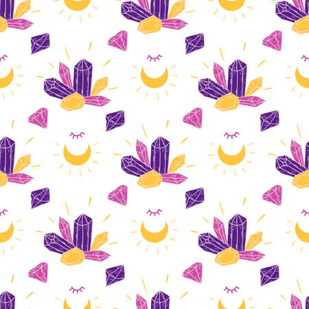 Cute crystal mystic pattern. Witchcraft childish magic spiritual background. Mystic crystal gems, stones, minerals, moon texture. Vector illustration. Witch crystal halloween party wallpaper surface.