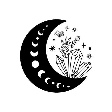 Spirituality moon phase crystal logo. Floral moon. Black graphic magical stone. Spiritual stone illustration. Hand drawn moon mineral shape. Magical crescent. Alternative medicine crystal healing. Banque d'images