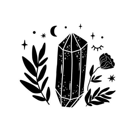 Spirituality crystal logo. Moon flower. Black graphic magical stone. Spiritual stone illustration. Hand drawn mineral print. Magical floral crystal. Alternative medicine crystal healing icon.