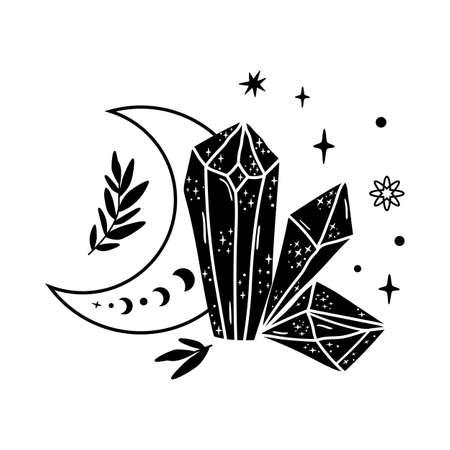 Spirituality moon phase crystal logo. Floral moon. Black graphic magical stone. Spiritual stone illustration. Vector moon mineral shape. Magical floral crystal. Alternative medicine crystal healing.