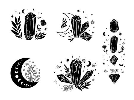 Magical stone set, moon, floral magic crystal shape. Spiritual stone collection. Celestial graphic elements isolated. Stars, crescent. Black magical stone. Spiritual minerals illustration.
