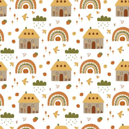 Autumn village pattern. Cute fall houses, rainbow, cloud, pumpkin, harvest elements, garden landscape vector illustration. Autumn countryside cottage. Fall houses seamless pattern, village background.