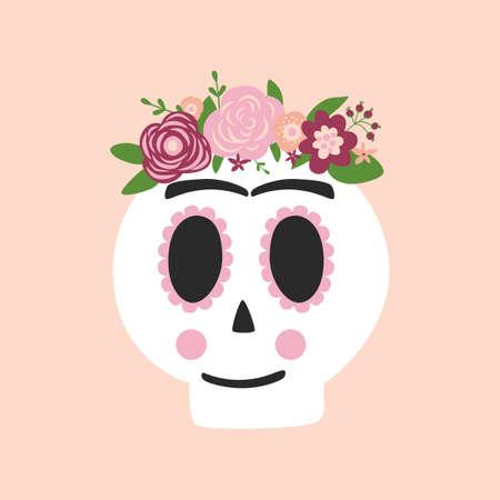 Day dead skull Frida Kahlo. Dia de los muertos skull. Symbol of day dead isolated vector illustration. Cute skull graphic element. Pink spooky logo. Spanish, mexican tradition. Woman skull mexican.