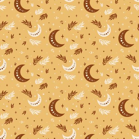 Boho moon pattern. Boho celestial seamless pattern. Floral moon textile background. Astrology celestial decorative background. Mystical crescent wallpaper. Boho vector illustration. Fortune telling.