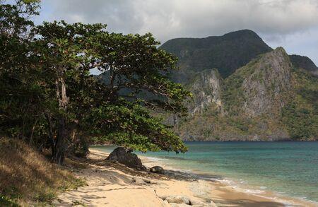 Tropical beach near El Nido village in Philippines
