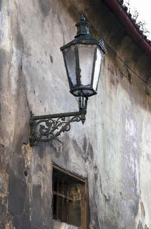 Old street lamp in old corners of Prague  photo