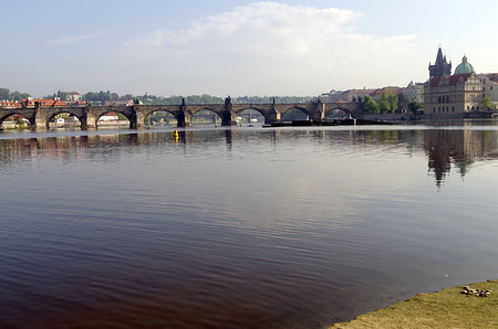 Charles Bridge in the spring time with the Vltava river photo