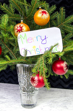 The wish of Merry Christmas in English decoration vase photo