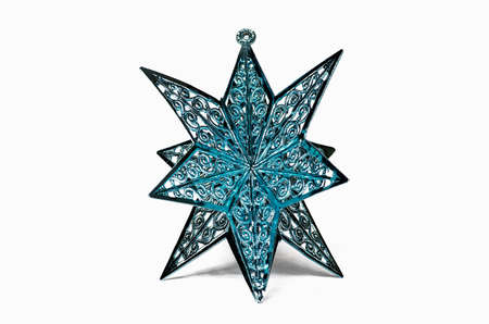 star ornament: Blue star ornament on a white background Stock Photo