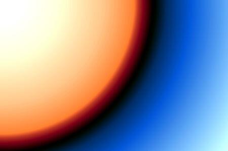 Yellow orange sun on blue black background photo
